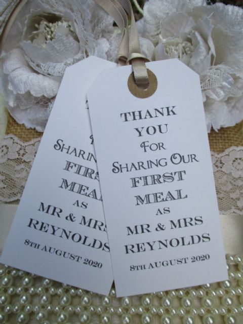 10 Personalized Wedding Table Place Setting Tag /Napkin Tie 108 x 54mm